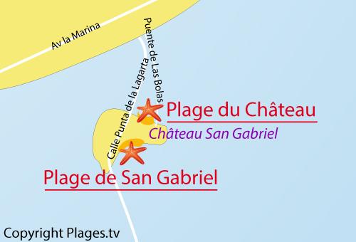 Carte de la plage de San Gabriel à Arrecife