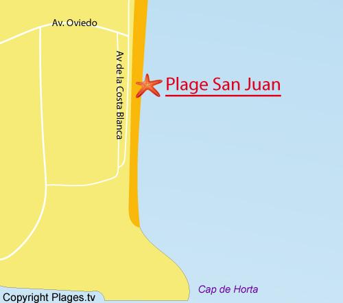 Carte de la plage de San Juan à Alicante