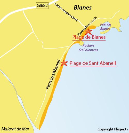 Carte de la plage de Sant Abanell à Blanes