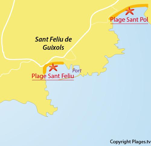 Carte Espagne Avec Plages.Plage De Sant Feliu A Sant Feliu De Guixols Catalogne