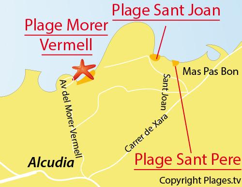 Carte de la plage de Sant Joan à Alcudia - Majorque