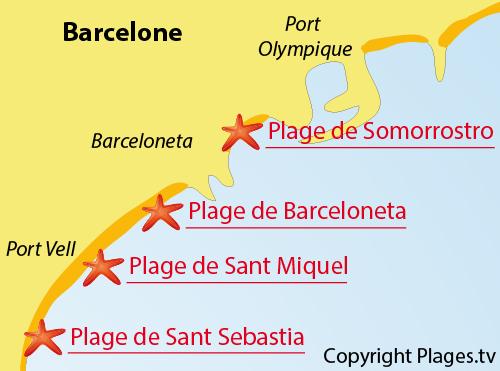 Carte de la plage de Sant Miquel à Barcelone - Espagne