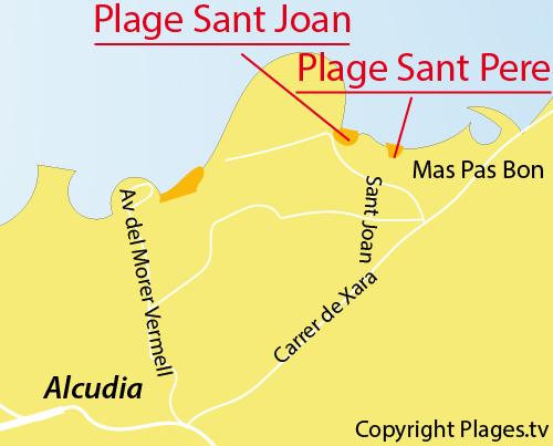 Carte de la plage de Sant Pere à Alcudia
