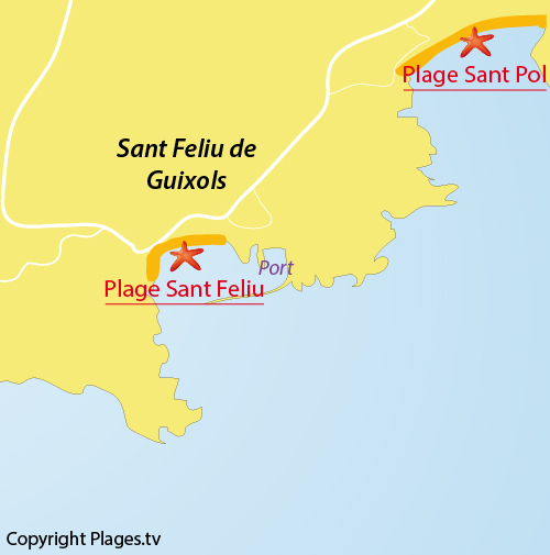 Carte de Sant Pol à Sant Feliu de Guixols - Espagne