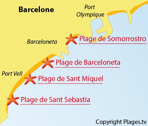 Carte de la plage de Sant Sebastia à Barcelone