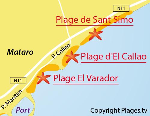 Carte de la plage de Sant Simo à Mataro