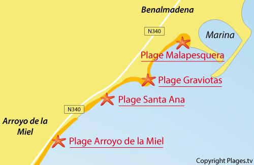 Carte de la plage de Santa Ana à Benalmadena