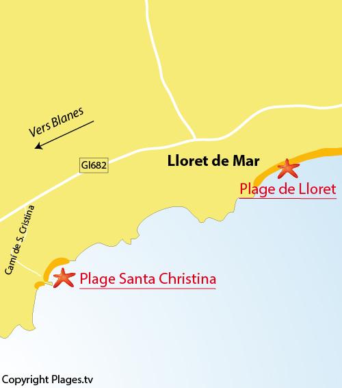 Carte de la plage de Santa Christina à Lloret de Mar en Espagne