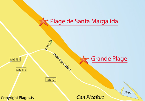 Carte de la plage de Santa Margalida à Can Picafort - Baléares