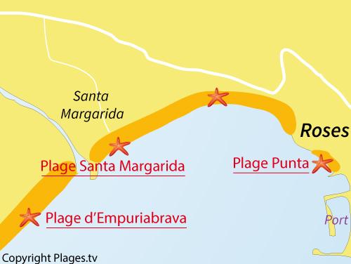 Carte de la plage de Santa Margarida à Roses