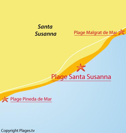 Carte de la plage de Santa Susanna en Espagne