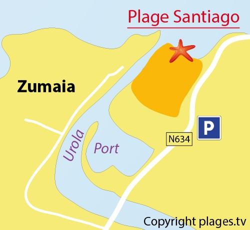 Carte de la plage de Santiago à Zumaia - Espagne
