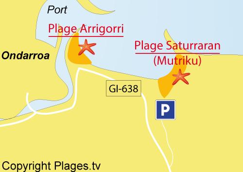Carte de la plage de Saturraran à Mutriku