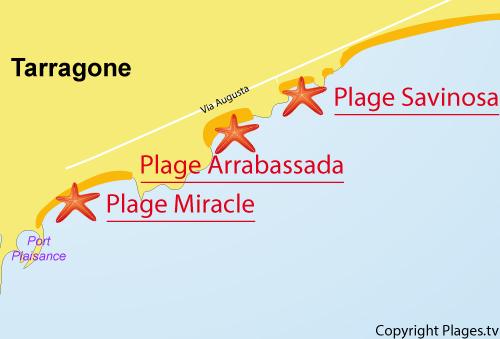 Carte de la plage de Savinosa à Tarragone