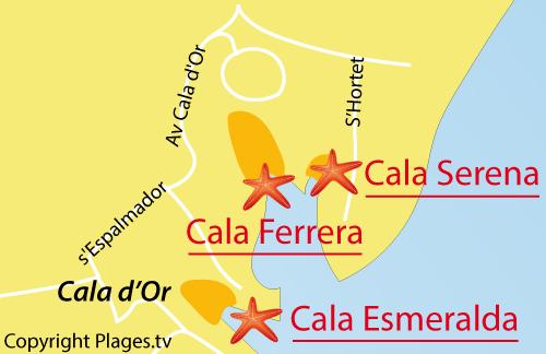 Carte de la plage de Cala Serena à Cala d'Or