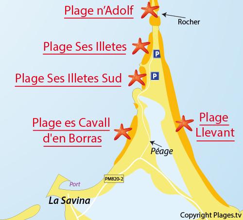 Carte de la plage de Ses Illetes à Formentera
