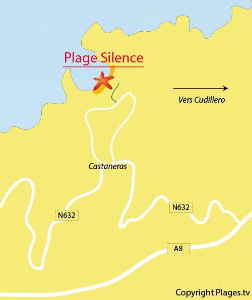 Carte de la plage du Silence à Cudillero - Espagne