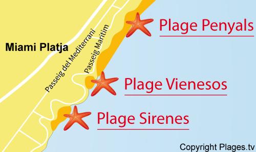 Carte de la plage des Sirenes à Miami-Platja