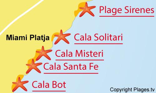 Carte de la plage de Cala Solitari à Miami-Platja