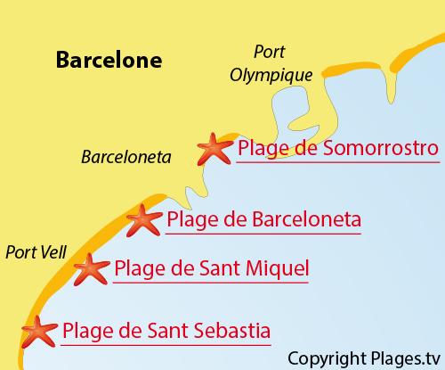 Carte de la plage de Somorrostro à Barcelone
