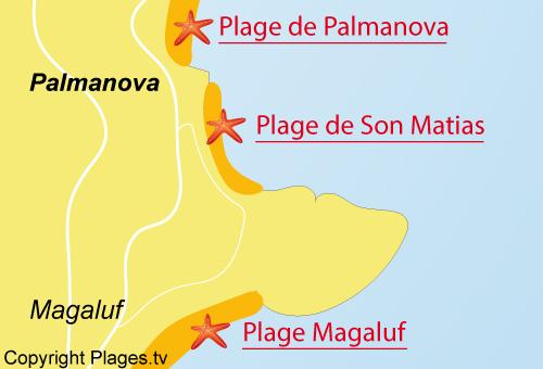 Carte de la plage de Son Matias à Palmanova