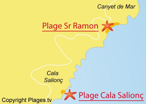 Carte de la Cala del Senyor Ramon sur la Costa Brava