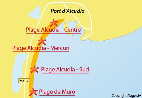 Carte de la plage sud d'Alcudia