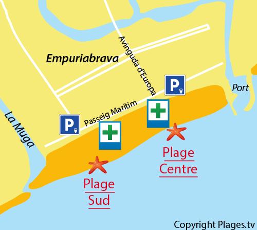 Carte de la plage Sud d'Empuriabrava