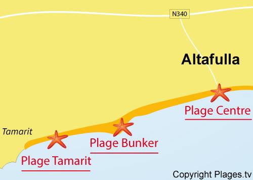 Carte de la plage de Tamarit - Tarragone - Espagne