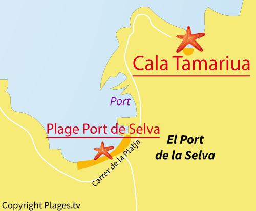 Carte de la plage de Tamariua à El Port de la Selva