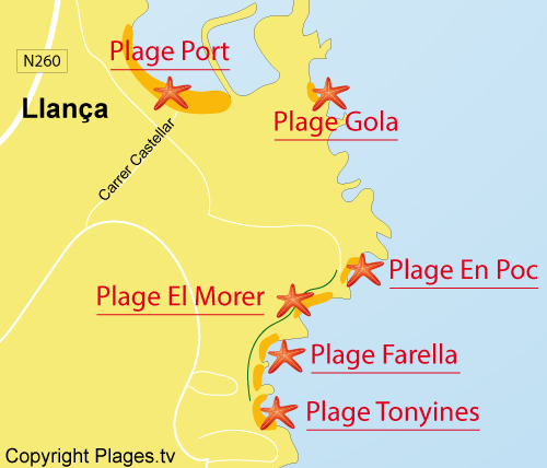 Carte de la plage de Tonyines à Llança
