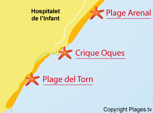 Carte de la plage de Torn à l'Hospitalet de l'Infant