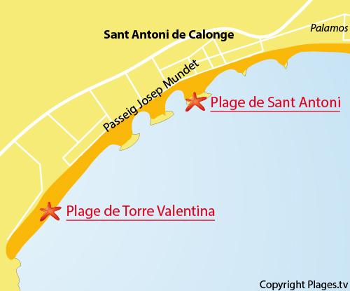Carte de la plage de Torre Valentina à Calonge