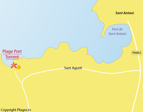 Carte de la plage des Torrent à Ibiza
