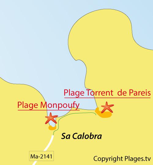 Carte de la plage du Torrent de Pareis à Majorque