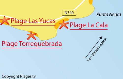 Carte de la plage de Torrequebrada - Benalmadena