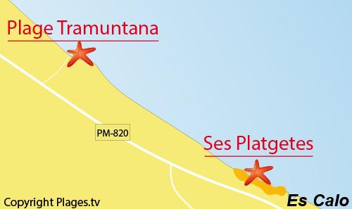 Carte de la plage de Tramuntana à Es Calo