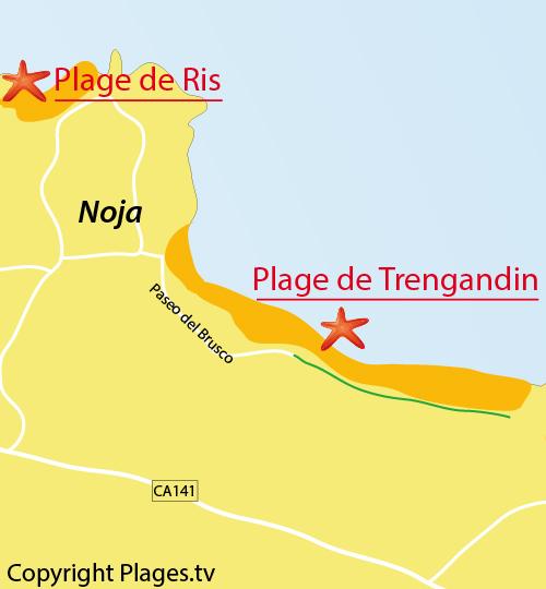 Carte de la plage de Trengandin à Noja - Espagne