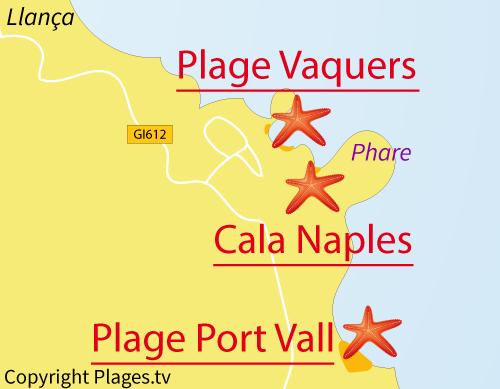 Carte de la plage de Vaquers à El Port de la Selva - Espagne
