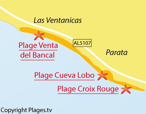 Carte de la plage de Venta del Bancal à Mojacar