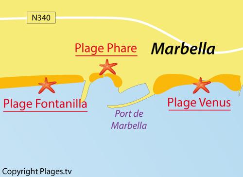 Carte de la plage de Venus à Marbella