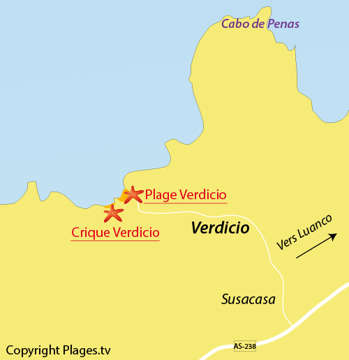 Carte de la plage de Verdigio en Espagne
