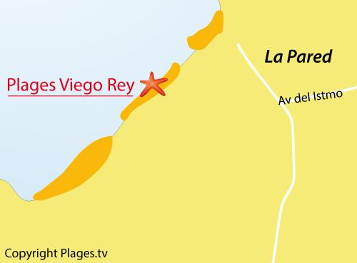 Carte de la plage de Viego Rey à Fuerteventura - Canaries