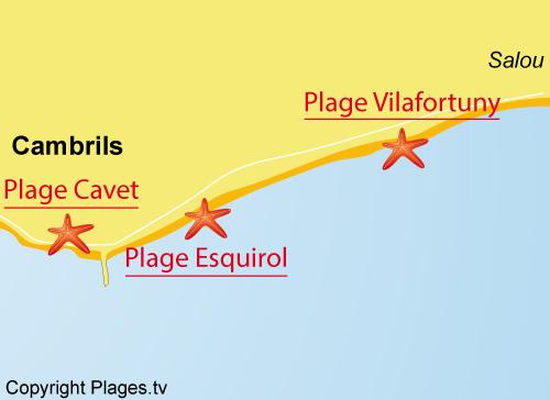 Carte de la plage de Vilafortuny à Cambrils en Espagne
