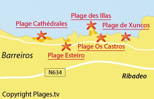 Carte de la plage de Xuncos à Ribadeo