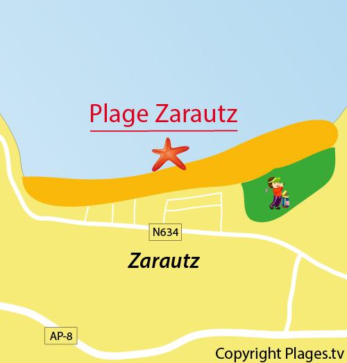 Carte de la plage de Zarautz en Espagne
