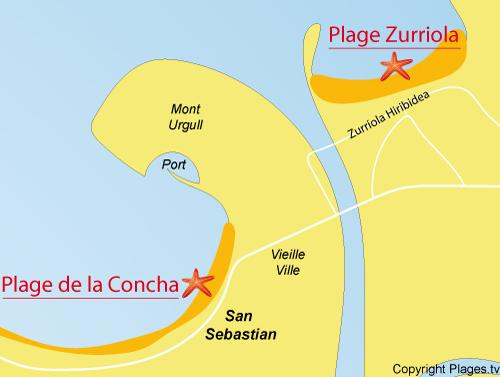 Carte de la plage de Zurriola à San Sebastian en Espagne