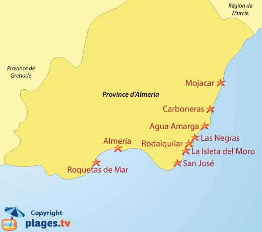 Carte des plages et des stations balnéaires de la province d'Almeria en Andalousie - Espagne