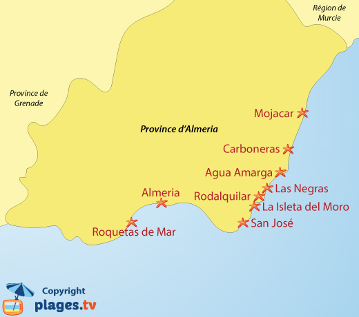 Carte Littoral Andalousie.Plages Almeria Espagne Liste Des Stations Balneaires