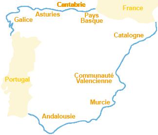 Carte des plages et stations balnéaires en Espagne